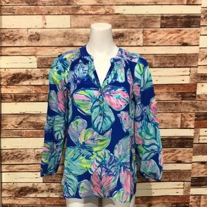 Lilly Pulitzer Blue Floral Silk
